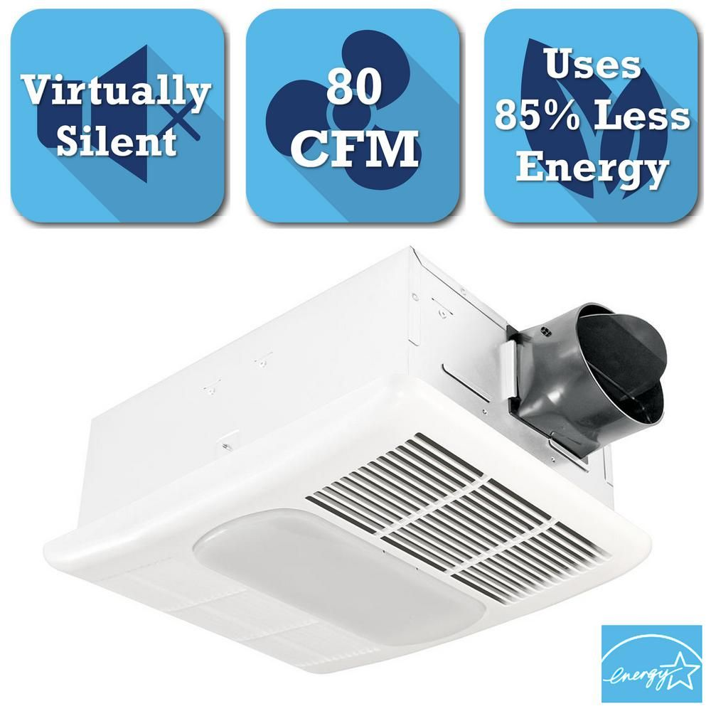 2 Bulb 80 Cfm Ceiling Bathroom Exhaust Fan With Light And: Delta Breez Radiance Series 80 CFM Ceiling Bathroom