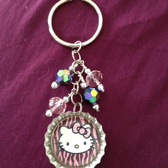 Bottle cap bead key chain