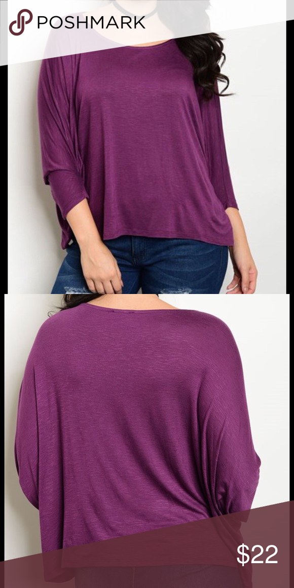 3/4 Sleeve Rounded Neck Jersey Top,...Eggplant 3/4 Sleeve Rounded Neck Jersey Top,...96% Rayon 4% Spandex. Made in the USA Tops