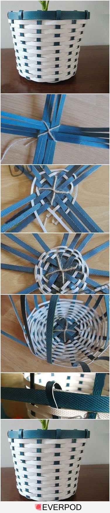 Květinýč z plastových pásků