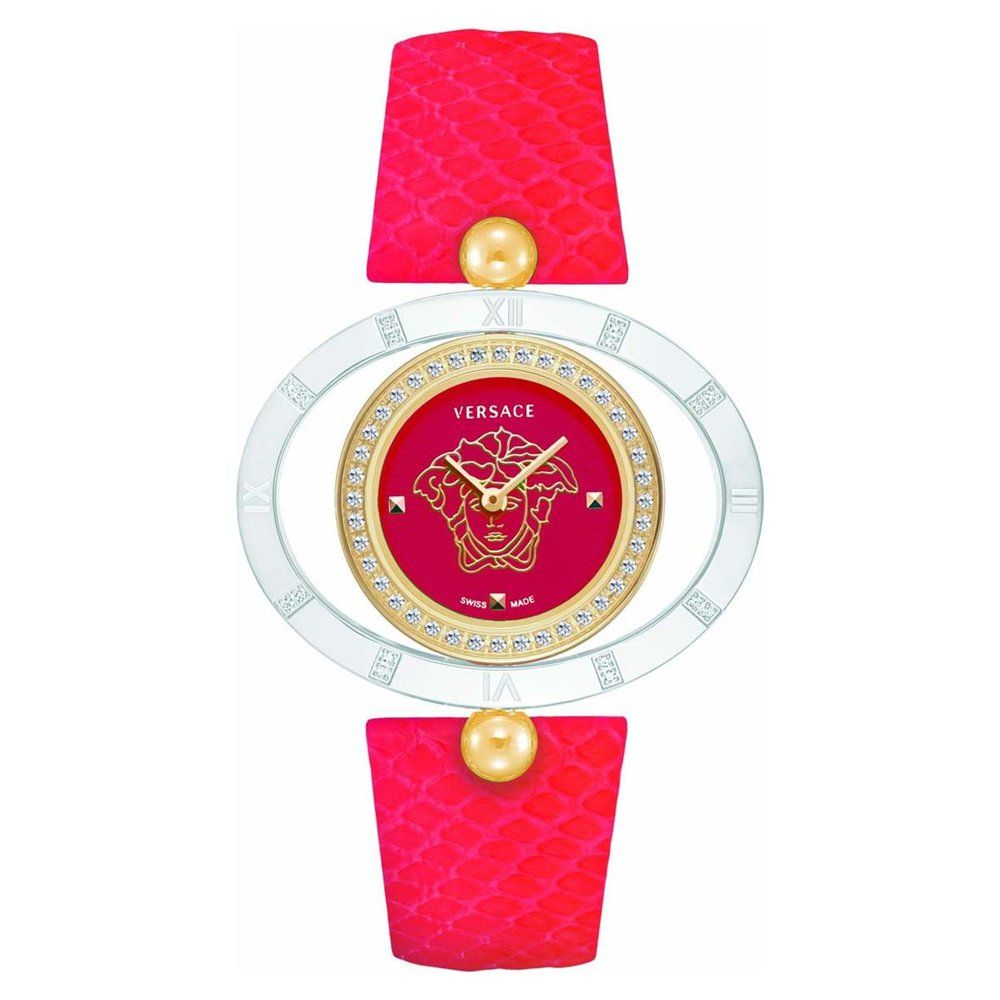 Swiss quartz movement Ronda-762; Round rose gold IP stainless steel case encircled with pav diamonds; Outer reversible oval bezel ring with diamonds and Roman Numerals engraved; Red enamel guilloch dial with Medusa head in the center; Red Elaphe snake leather strap'