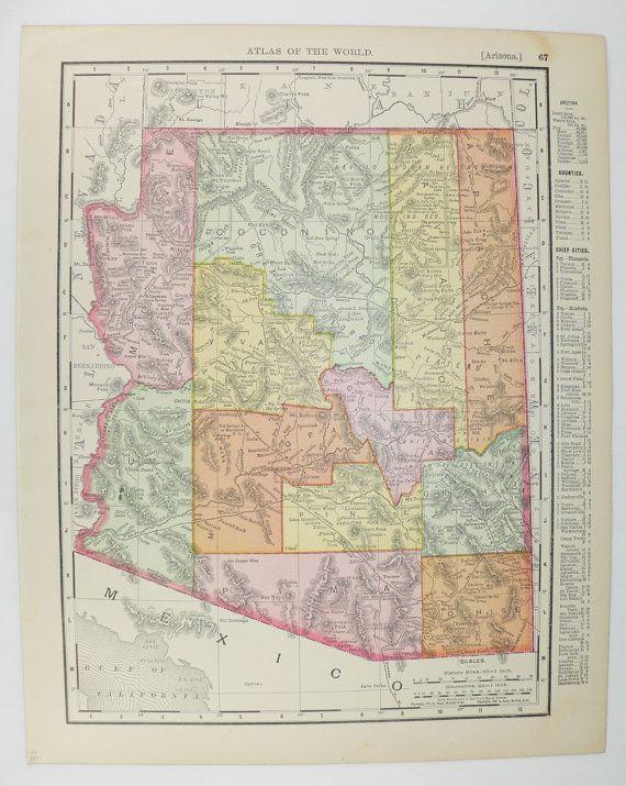 1899 Southwest State Map Arizona, Nevada Map, Vintage Map of Nevada ...