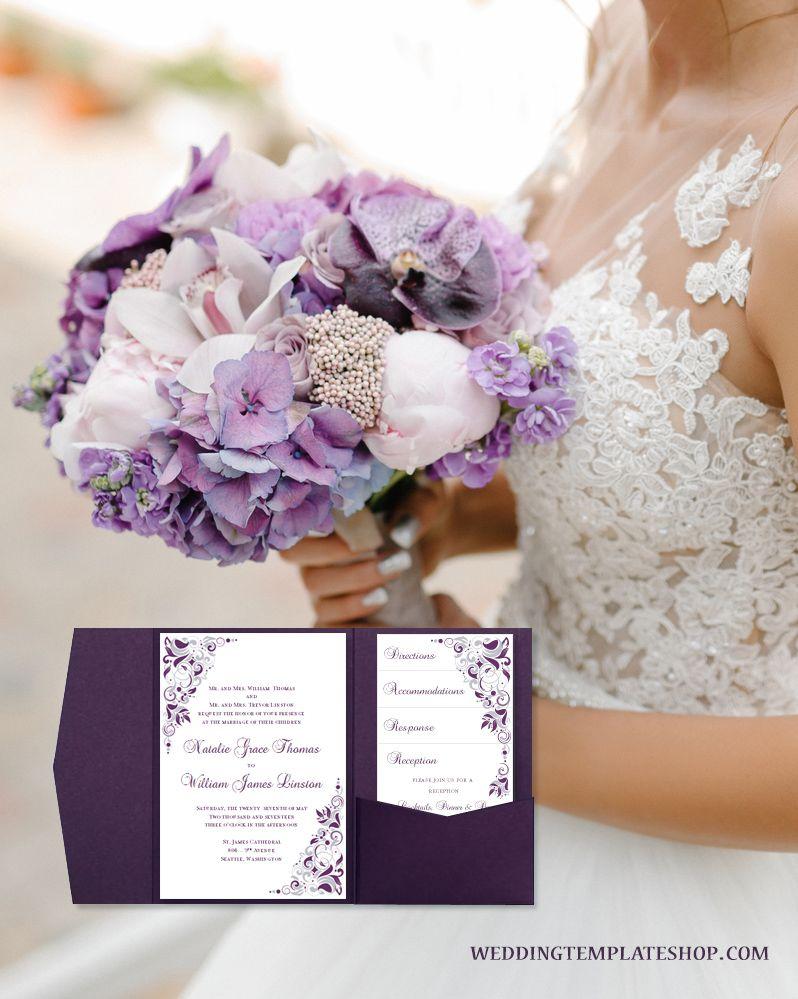 Eggplant Purple U0026 Silver Wedding Invitations, Pocketfold Set In Gianna  Design Series.