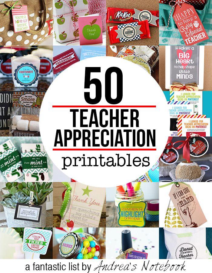 50 Free Teacher Appreciation Printables Teacher Appreciation Gifts Printables Teacher Appreciation Printables School Teacher Gifts