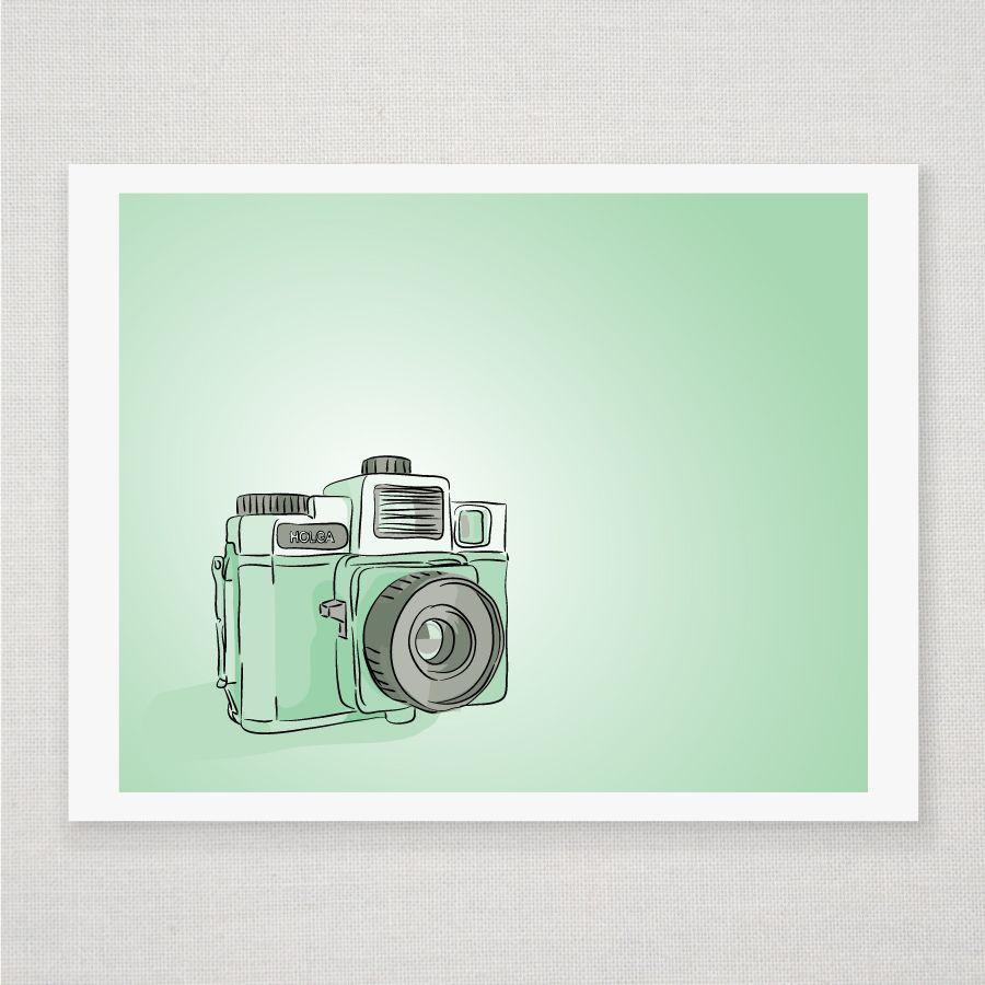 Mint Green Holga Camera - Illustrated Art Print