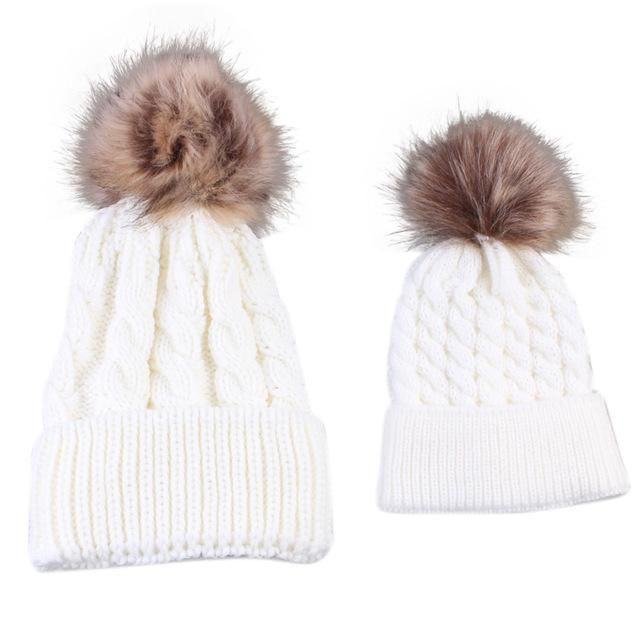 9c40add97ae77 Item Type  Skullies   Beanies Gender  Women Model Number  Mom And Baby  Knitting Keep Warm Hat Pattern Type  Solid Style  Casual Material   Polyester Baby ...