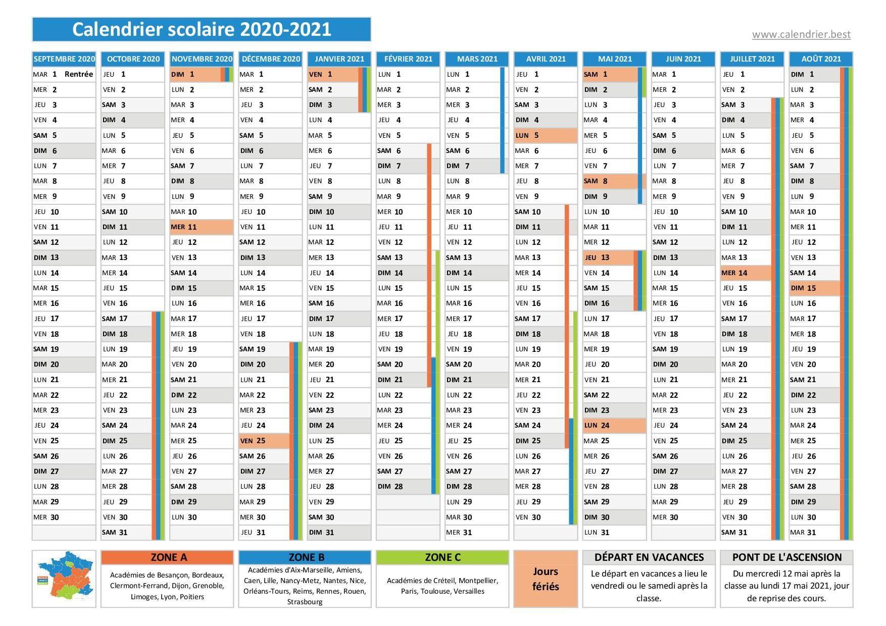 Calendrier scolaire 2020 2021 avec jours fériés en 2020