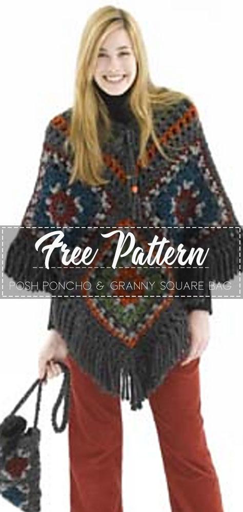 Posh Poncho & Granny Square Bag – Free Pattern – Free Crochet #grannysquareponcho