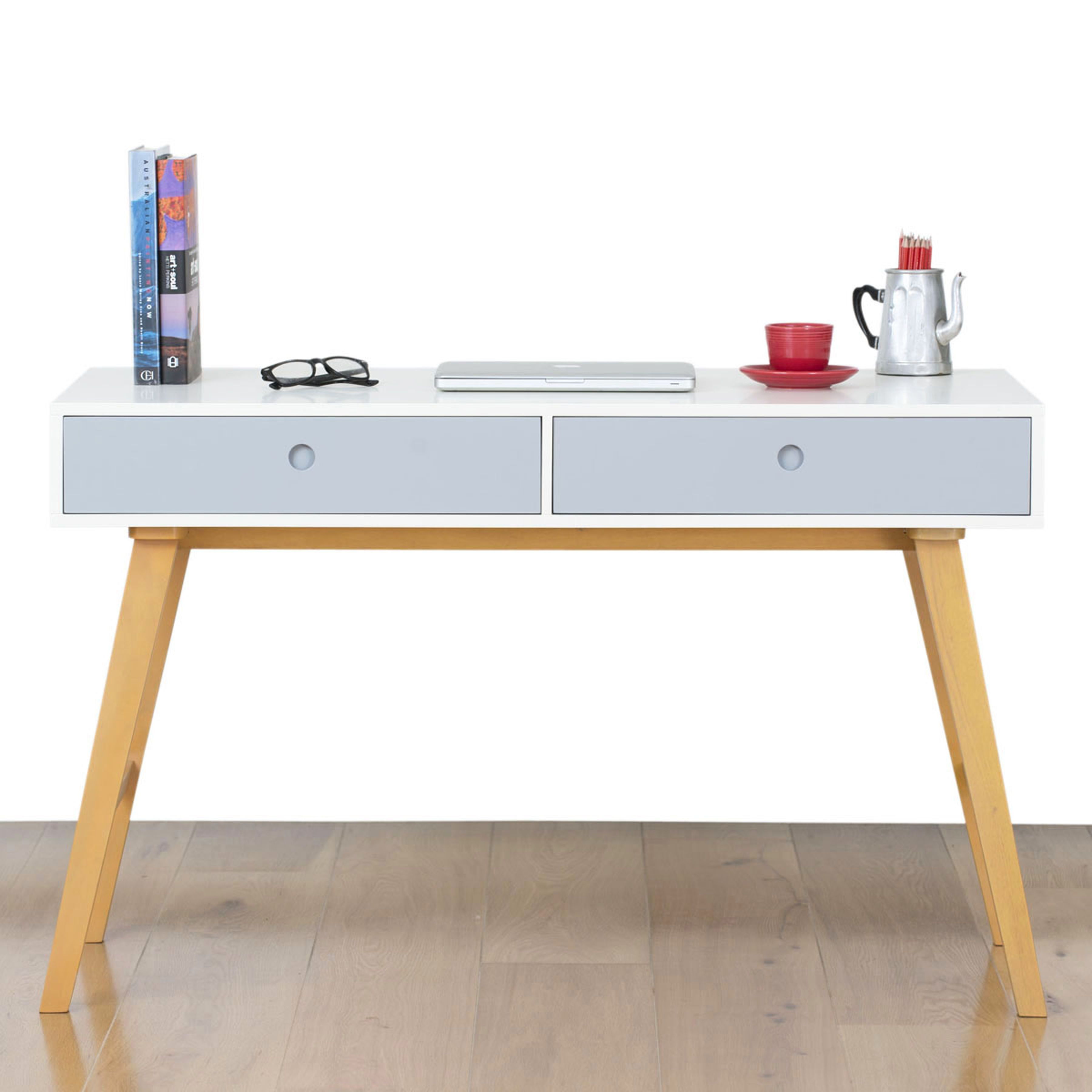 Countess Scandinavian Style fice Desk Warm White Blue