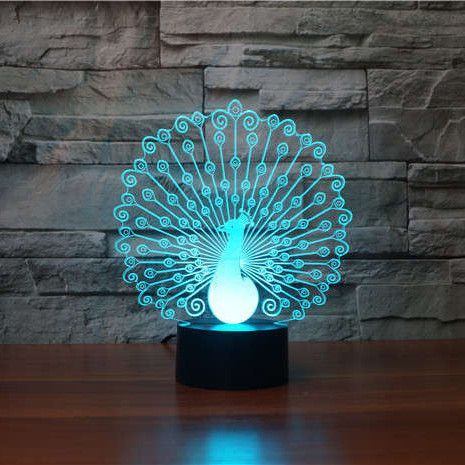 Peafowl Peacock 3d Illusion Lamp 3d Illusion Lamp 3d Led Lamp Lamp