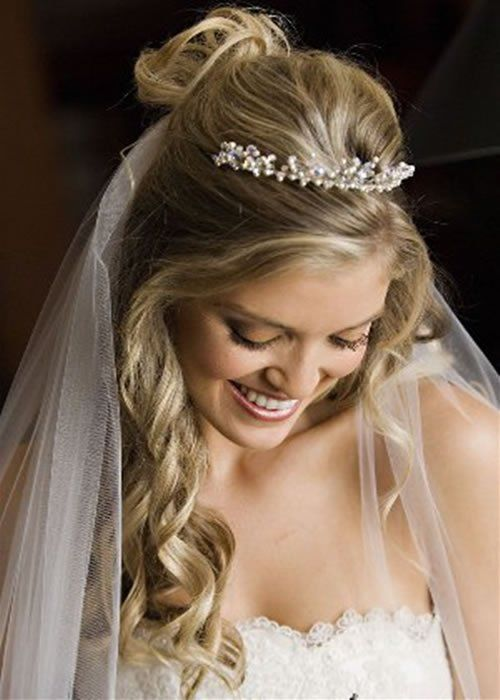 Wedding Hairstyles For Long Hair With Veil Tiara
