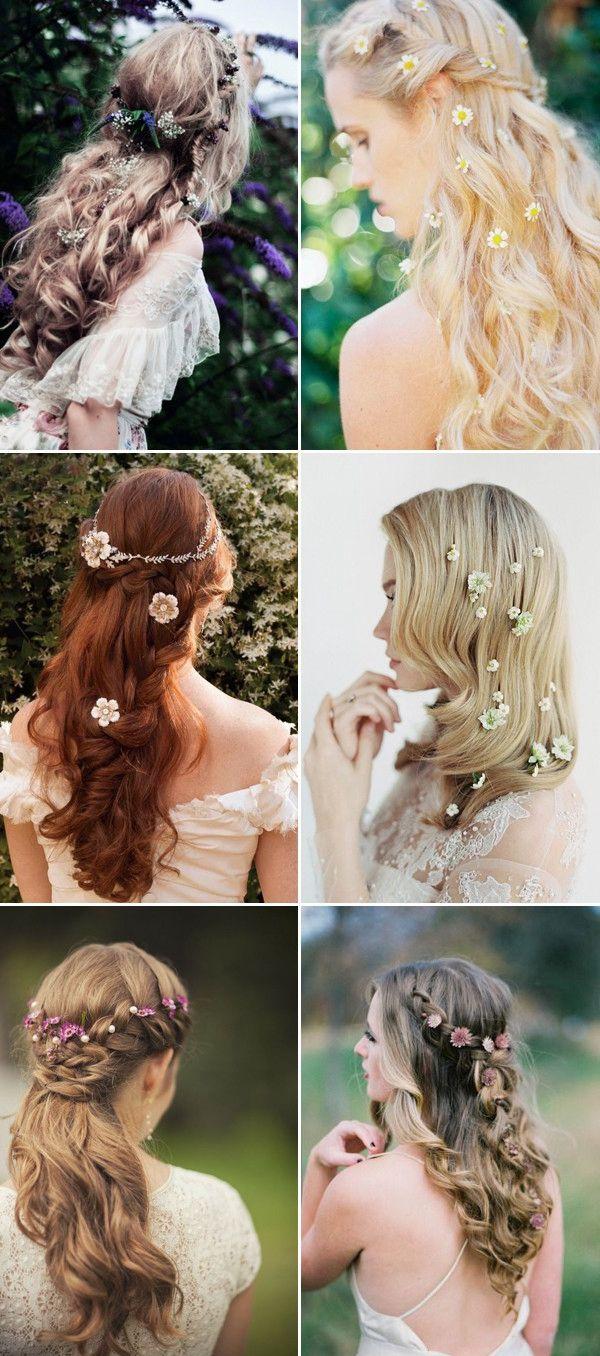 romantic long wedding hairstyles curls half up updos