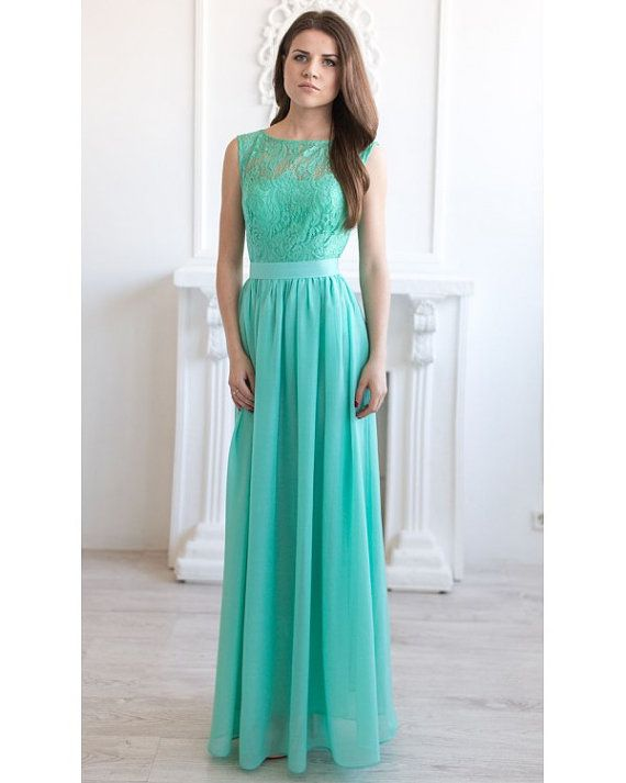 Mint Maxi Dress Wedding.Lace Long Dress Party. by Dioriss on Etsy ...