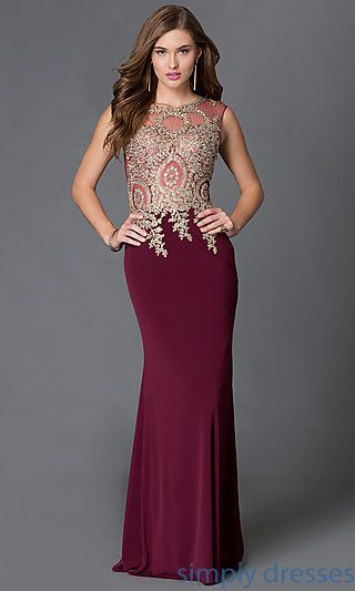Shop floor length sheer illusion mesh prom dresses with jeweled lace  applique at Simply Dresses. Long sleeveless special occasion formal dresses. d2c79f4143e0