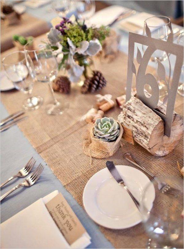 Rustikale Hochzeit Tischdeko Tischl Ufer Aus Leinen