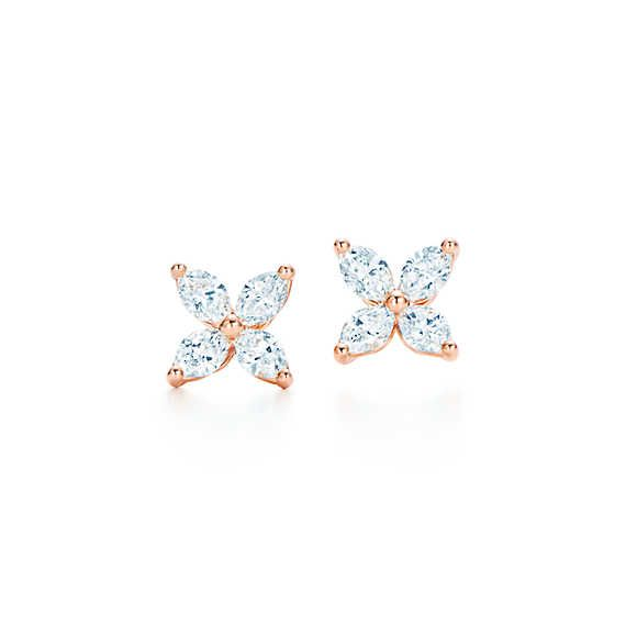 Tiffany Victoria® earrings in 18k rose gold with diamonds, small.