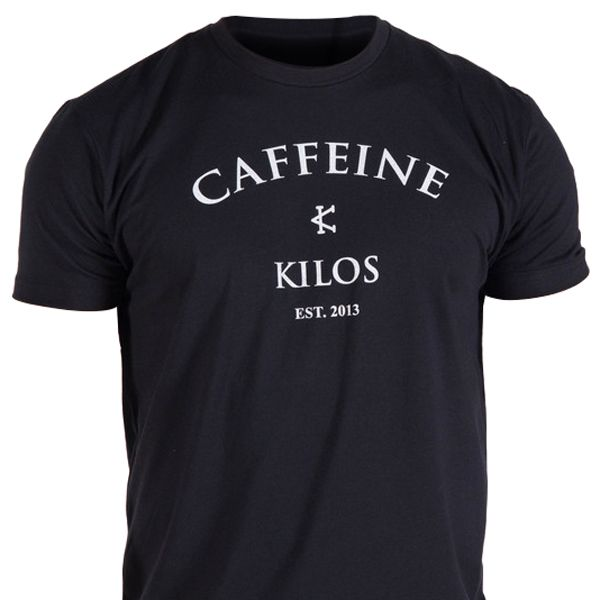 Comfortable black T-shirt features Caffeine and Kilos classic logo with a classic black and white color combo.  Get yours at Rogue.