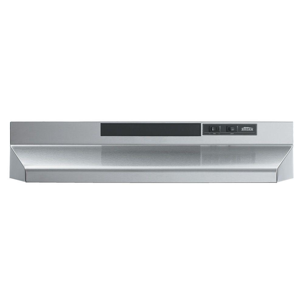 Broan Nutone F40000 Series 24 In Convertible Under Cabinet Range Hood With Light In Stainless Steel F402404 The Home Depot Broan Ducted Range Hood Range Hood