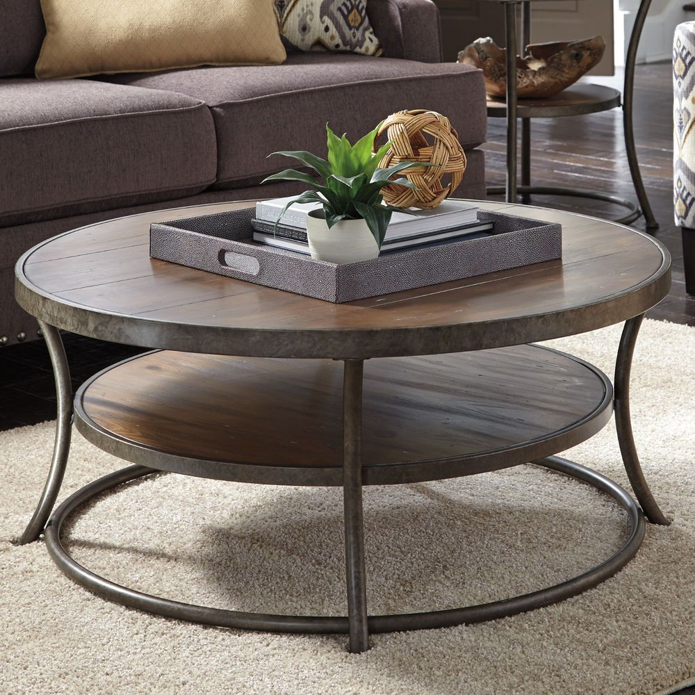 Ashley Vintage Casual Design Coffee Round Table Light Brown Finish Metal Wood Coffee Table Round Coffee Table Round Cocktail Tables [ 1000 x 1000 Pixel ]