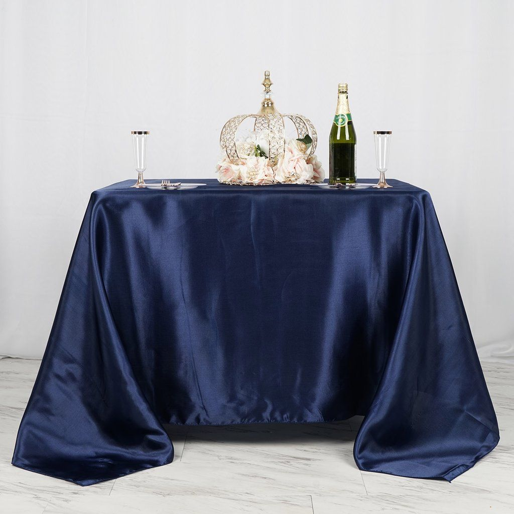 90 X 90 Navy Blue Seamless Satin Square Tablecloth Square Tablecloth Cheap Wedding Tablecloths Pink Tablecloth