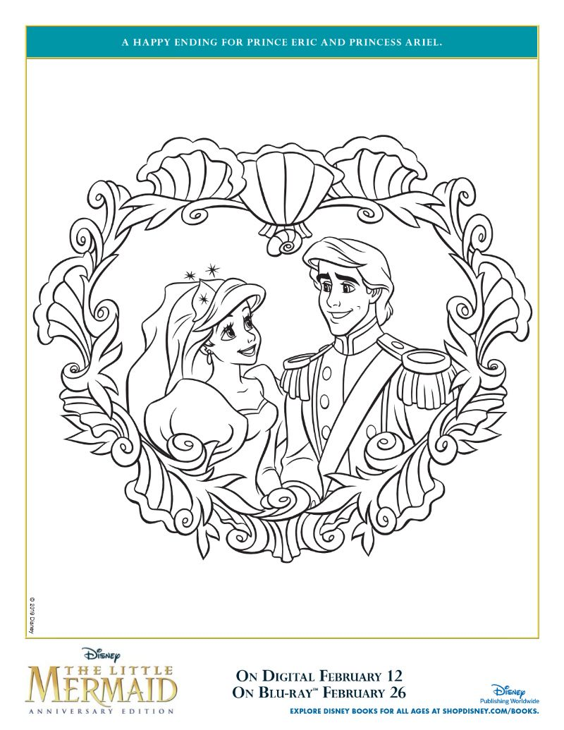 Disney Princess Ariel And Prince Eric Printable Coloring Page From The Little Mermaid Mermaid Coloring Pages Mermaid Coloring Book Mermaid Coloring