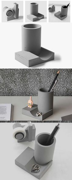concrete handmade modern pen pencil holder office desk stationery