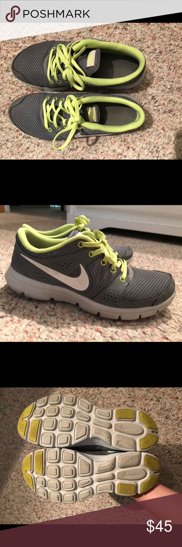 Nike Shoes In good condition. Except for some scuff marks, they are in great shape. Gray color with neon yellow/green laces and trim. Nike Shoes Sneakers