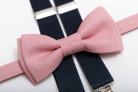 bae4c1a9b511 Boys bow tie Navy blue suspenders Dusty pink Bow tie Ring bearer gift Bow  tie suspenders Bow ties fo