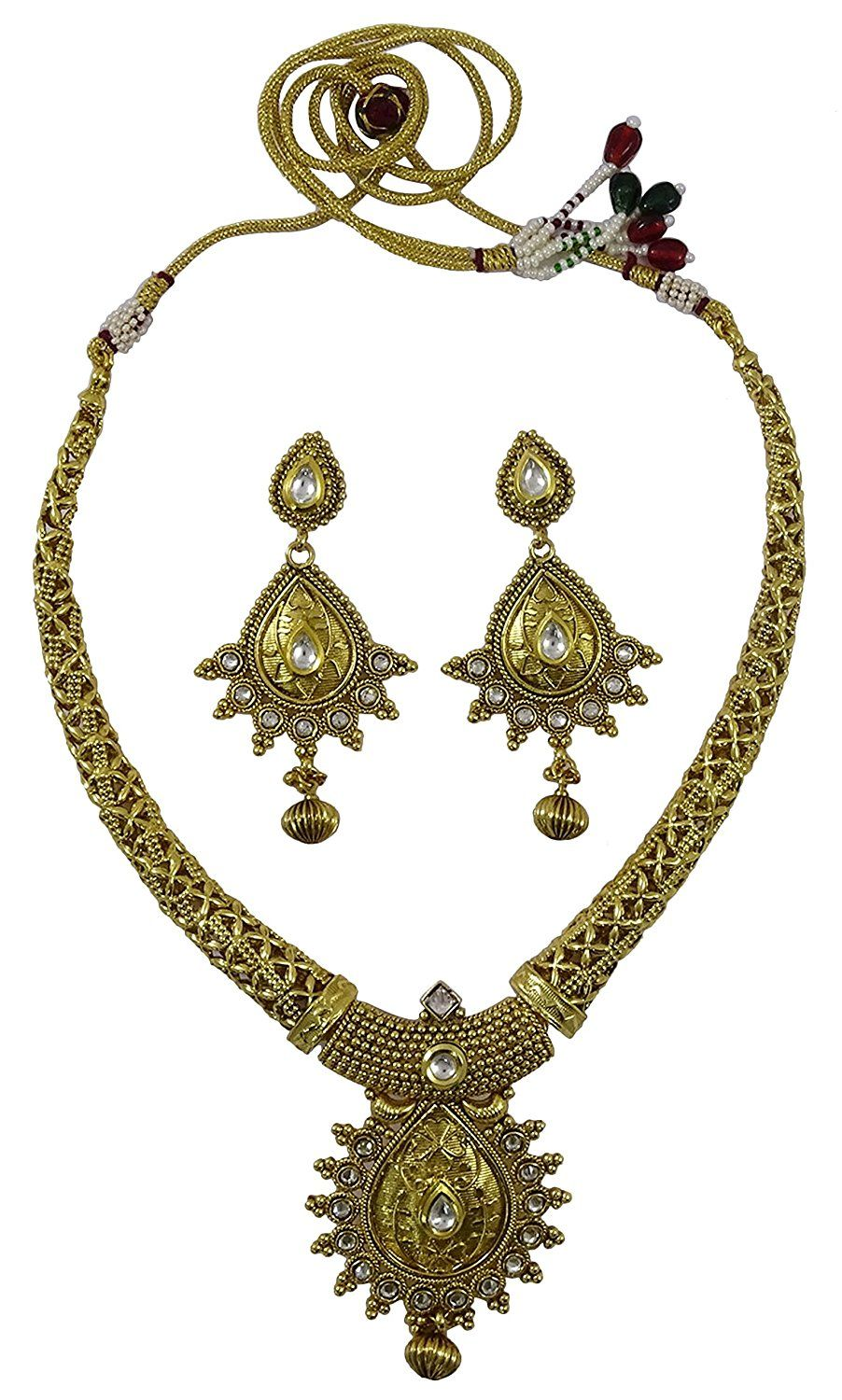 Matra traditional goldtone south indian style necklace earring set