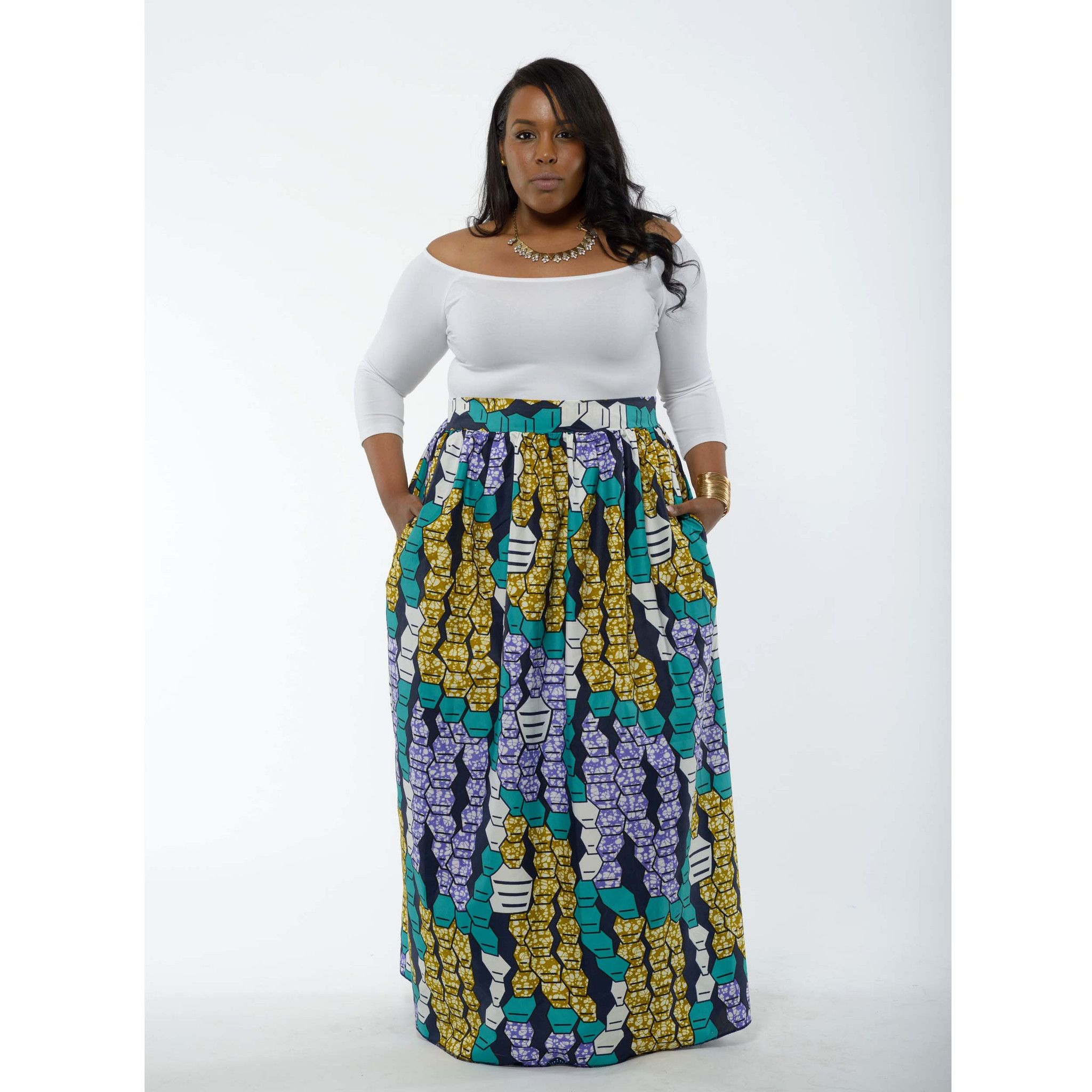 7083a6874b Chic African Print Maxi Skirt (Turquoise/White) | Ethnic Eclectic ...