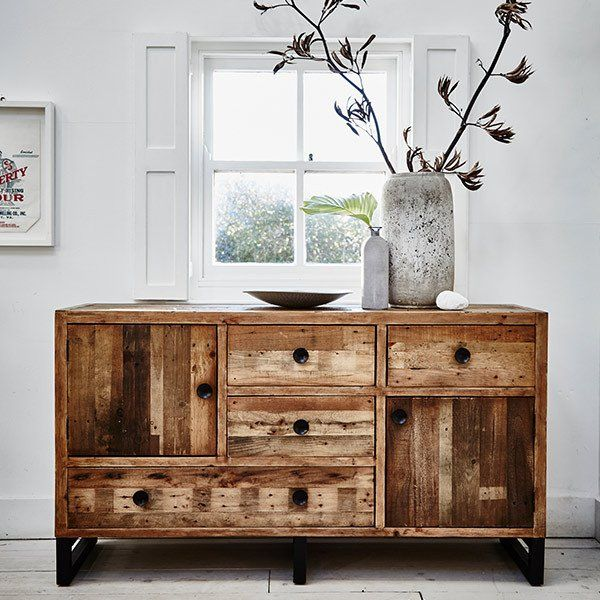 Standford Industrial Reclaimed Wood Large Sideboard Industrial