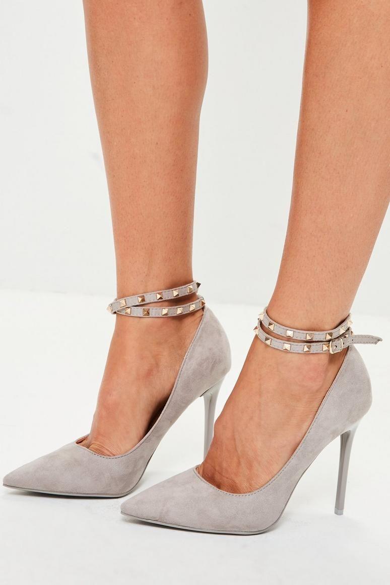b44fdb4f30b Grey Chain Ankle Pumps