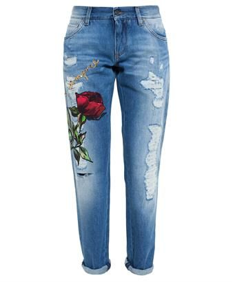 DOLCE & GABBANA - Roses Embroidered Jeans