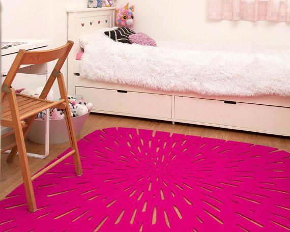 Hot pink handmade wool felt kids & nursery area rug, Eco-friendly ...