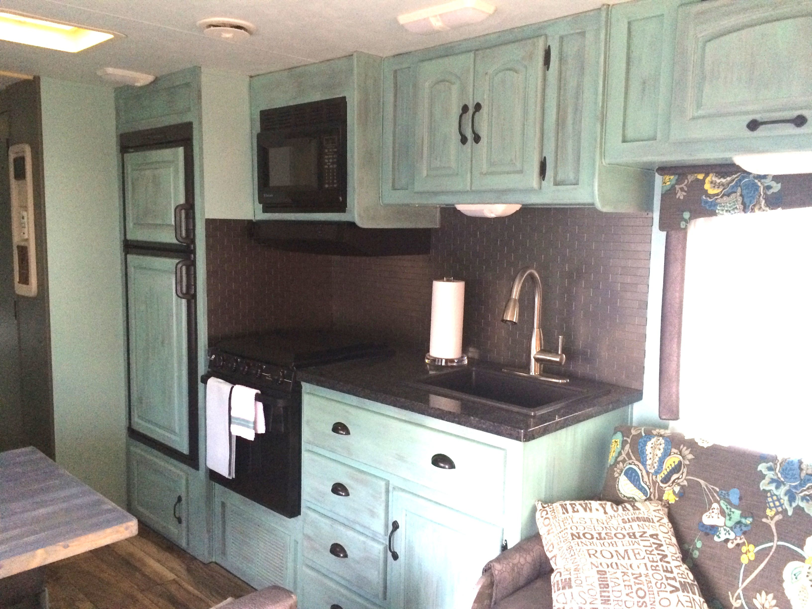 Modern rv interiors -  I Like The Cabinet Hardware For My Camper Reno Rv Bathroom Remodel Before After Wow What A Beautiful Rv Remodel