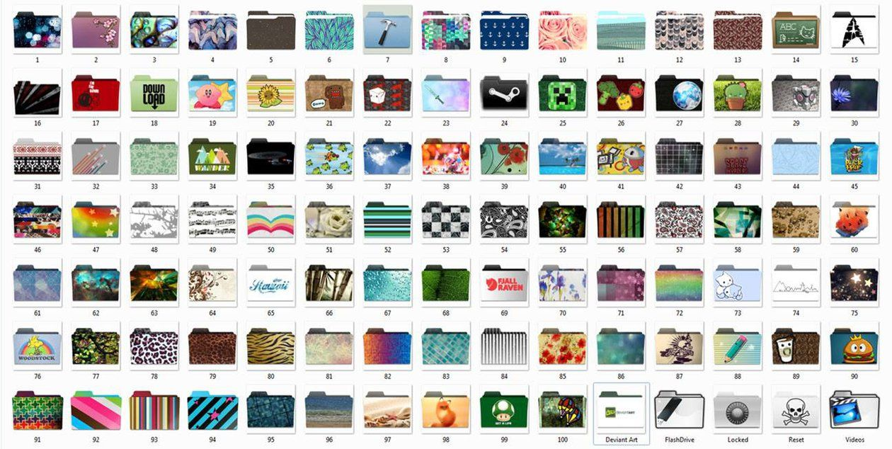 Here is a  zip file with 100 folder icons for customizing the