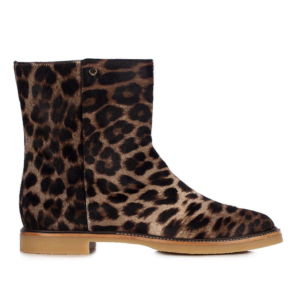 leopard print boots flat