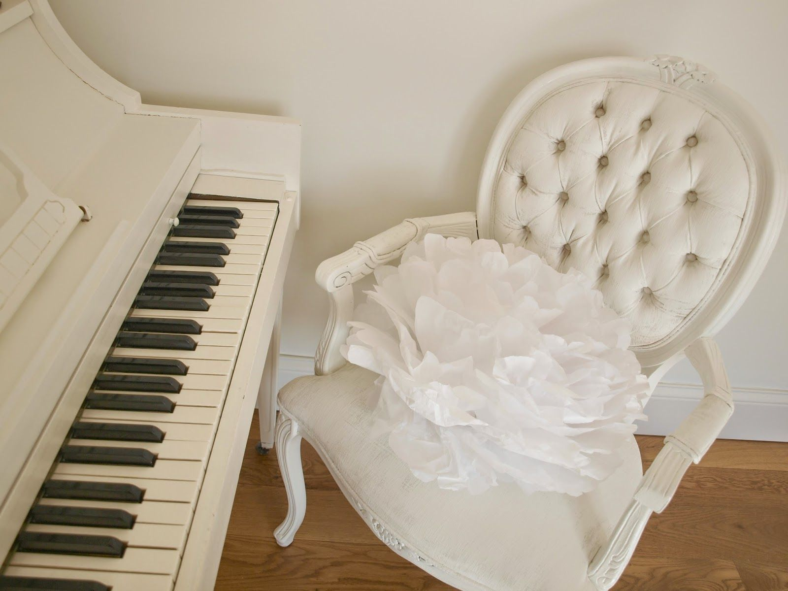 Shabby chic white painted Louis French chair with tissue pouf/vintage white painted piano/Hello Lovely Studio