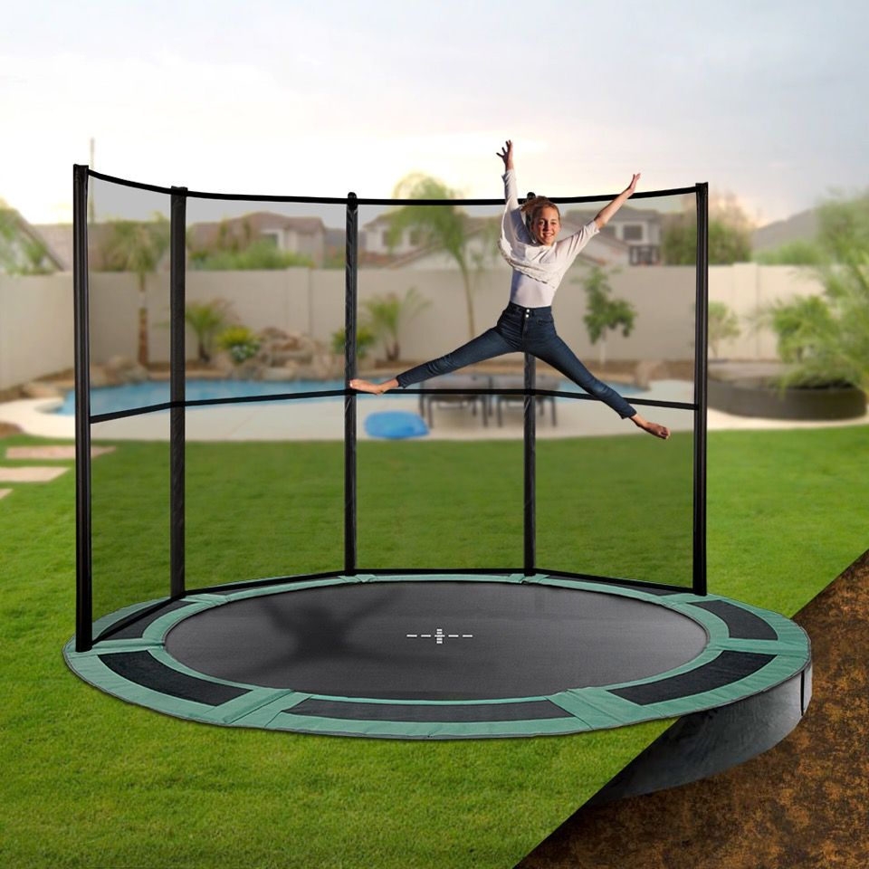 14ft round capital inground trampoline backyard