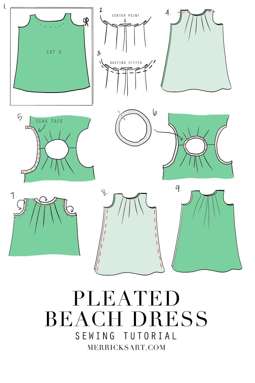 DIY FRIDAY: PLEATED PALM LEAF PRINT BEACH DRESS (SEWING TUTORIAL ...