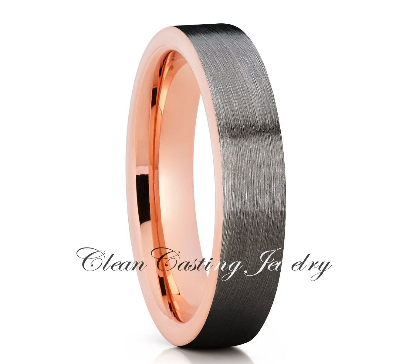 Gunmetal Black Tungsten Wedding Band, Tungsten Wedding Ring, Rose Gold Tungsten Band, Engagement Band, Comfort Fit, 18k Rose Gold Tungsten, Brushed