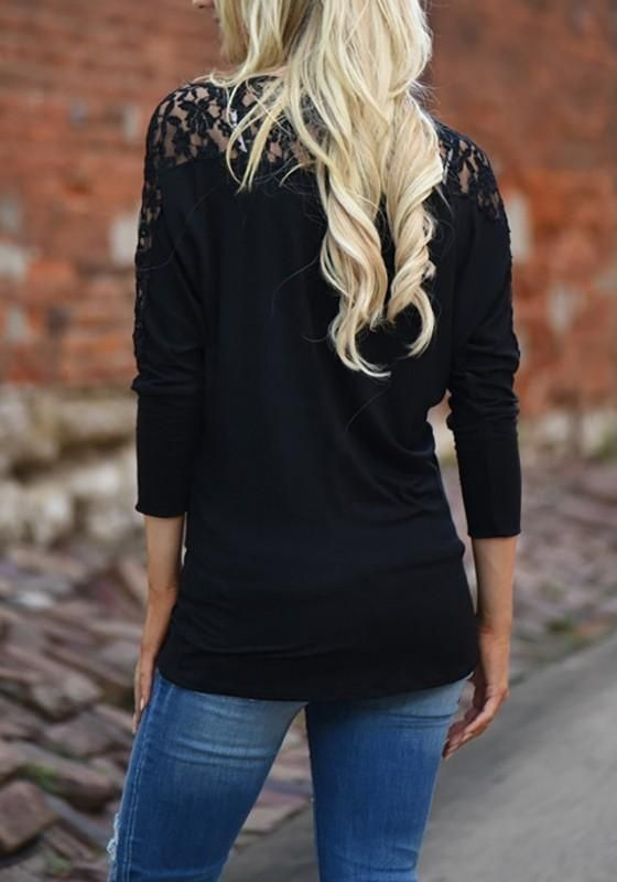 9793a74645ce5 Black Patchwork Lace Round Neck Long Sleeve Casual T-Shirt   Style ...