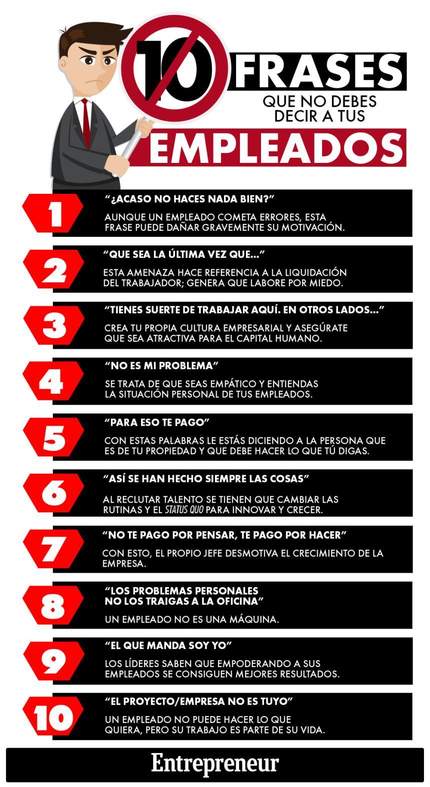 10 frases de un mal jefe #infografia #infographic #rrhh | Trabajo y ...