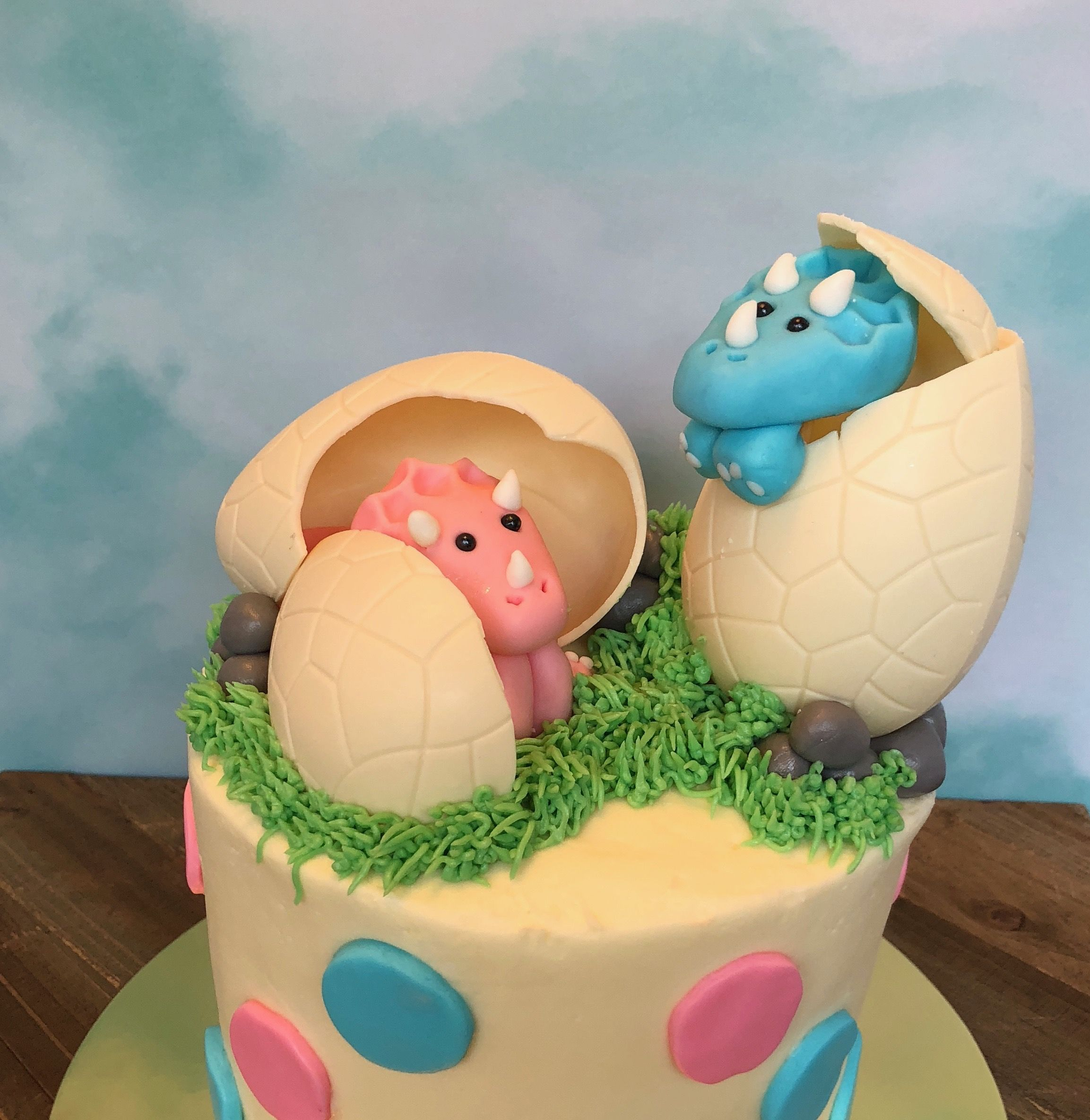 Twin Dinosaurs Hatching Out Of Eggs Baby Shower Cake With Images