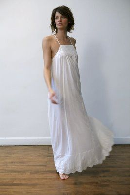 Long White Cotton Nightgown  7608d32d4