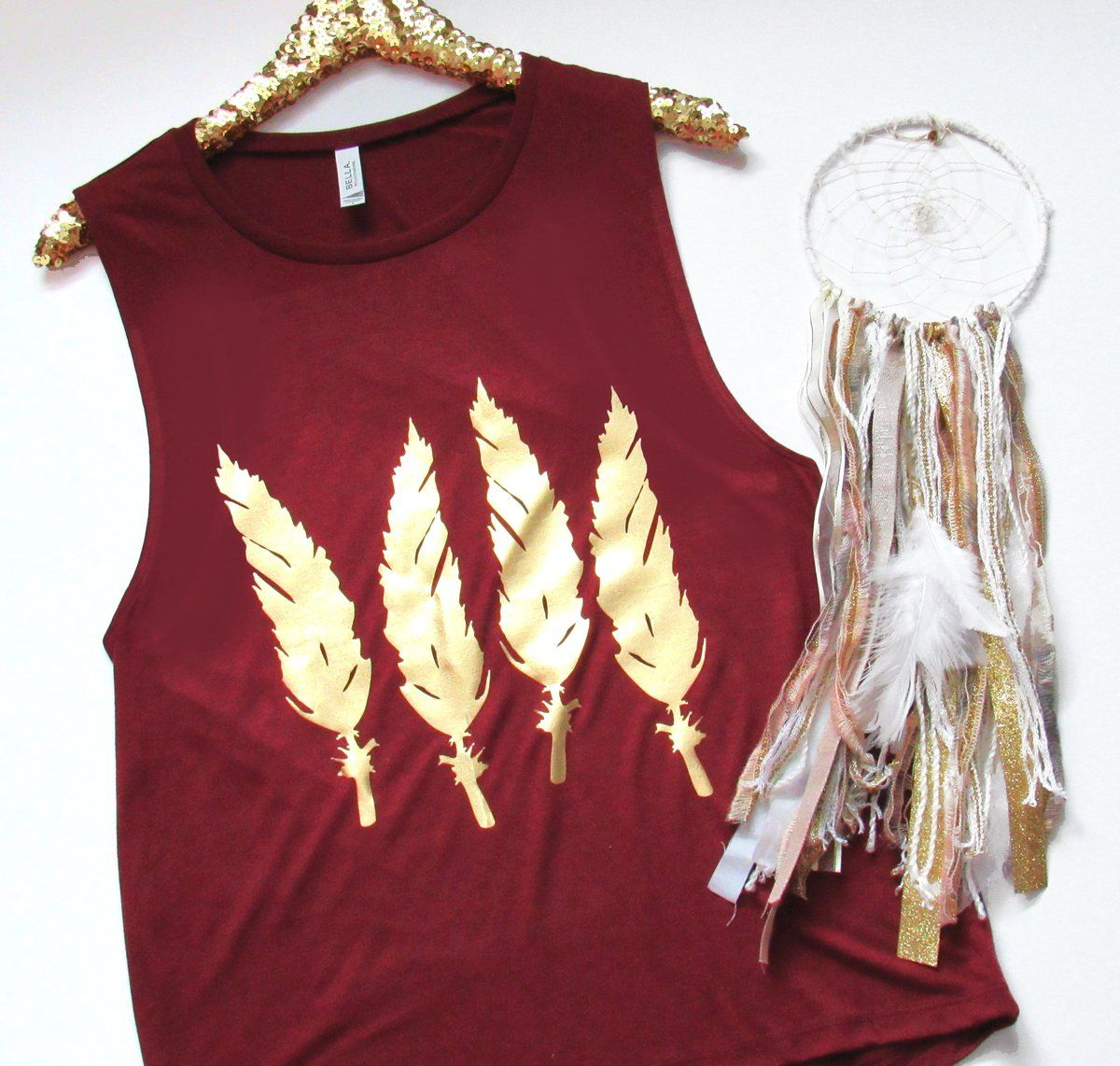 Feather Muscle Tank Maroon RWL Ruffles with Love