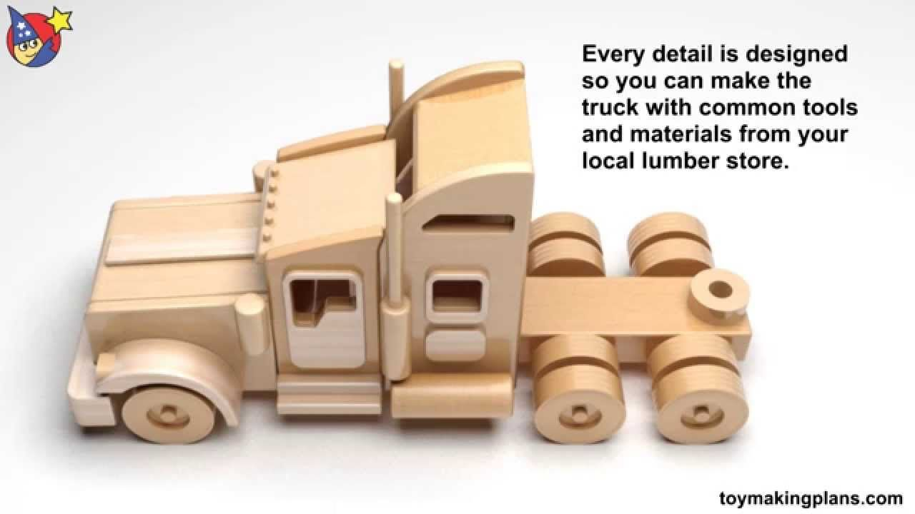 wood toy plans - famous kenworth semi truck and trailer