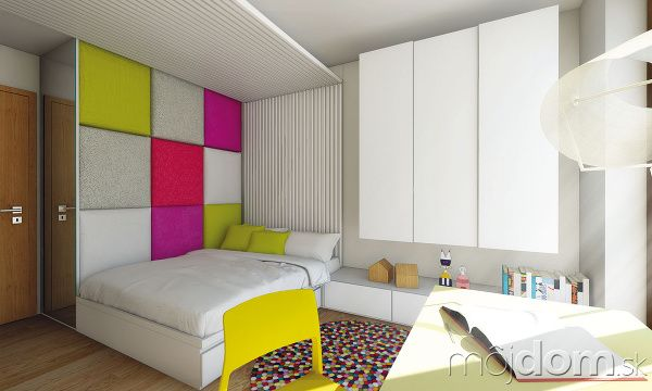 Hravá čalúnená stena je pútavým aj funkčným prvkom. Slúži na opieranie sa pri čítaní a�počas návštev sa môže premeniť na gauč.