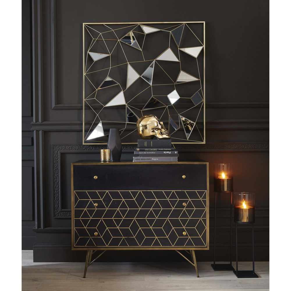 Gold Metal And Black Solid Mango Wood 3 Drawer Chest Mirror Wall Art Pub Table Sets Decor