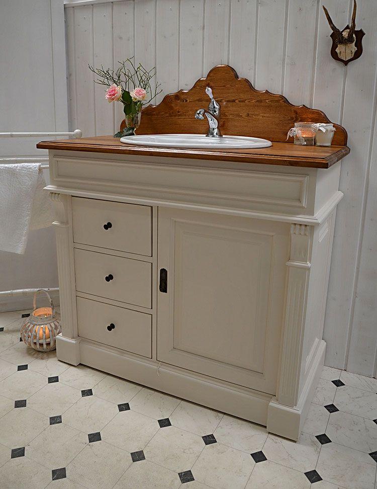 abb e landhaus waschtisch mit aufsatz von badm bel landhaus land und liebe for the bathroom. Black Bedroom Furniture Sets. Home Design Ideas